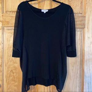 Alison Izu - Black top with sheer design Sz M